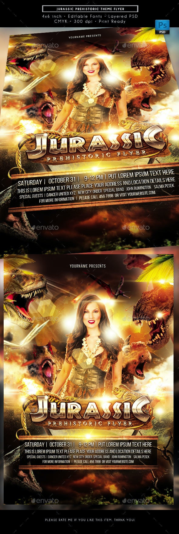 Jurassic Prehistoric Theme Event Flyer - Events Flyers