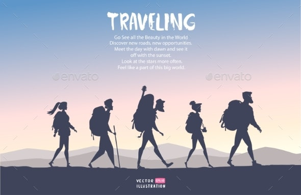 Traveling Cartoon People - Travel Conceptual