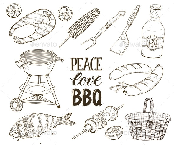 BBQ Sketches Vector - Food Objects