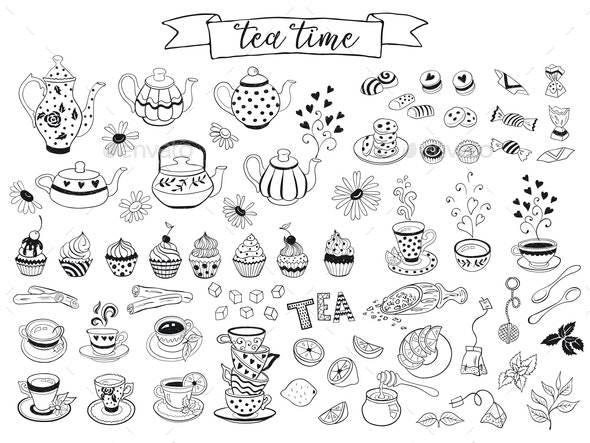 Tea Vector Icons - Food Objects