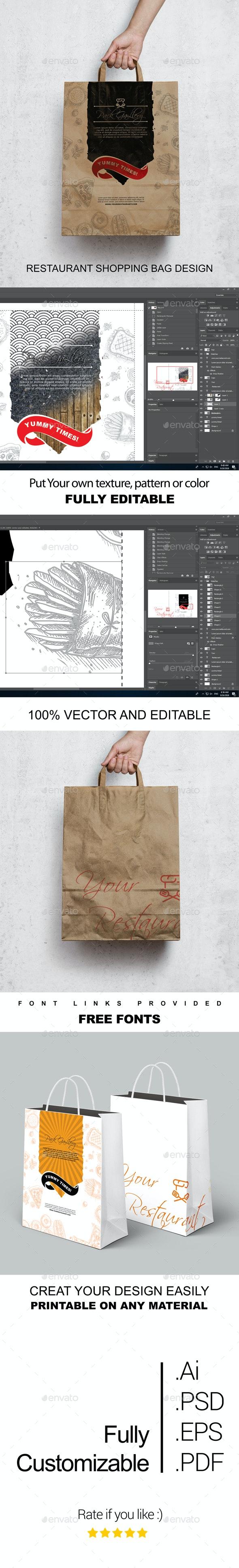 Restaurant Hand Bag Design Template - Miscellaneous Print Templates
