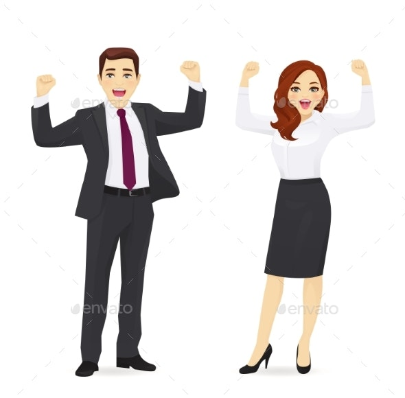 Happy Business Man and Woman - People Characters