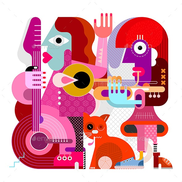 Two Musicians and One Orange Cat - People Characters