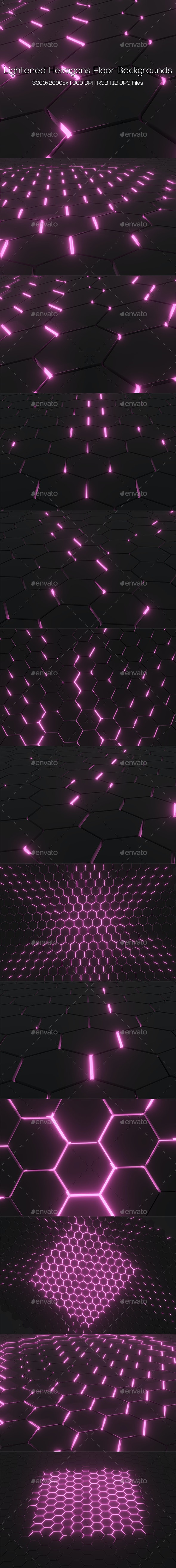 Lightened Hexagons Floor Backgrounds - Abstract Backgrounds