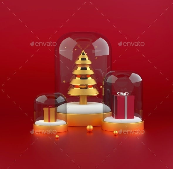 3D Christmas Tree with Presents - 3D Backgrounds