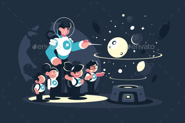 Guide with School Children in Planetarium - Technology Conceptual