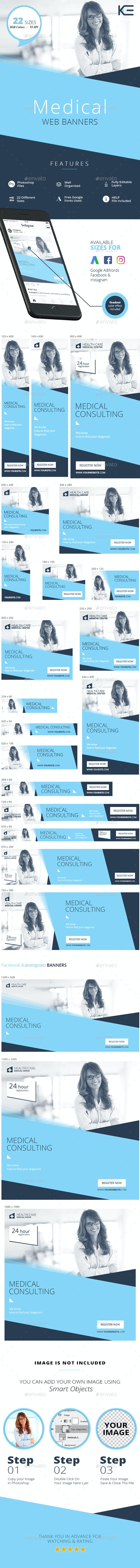 Medical Web Banners - Banners & Ads Web Elements