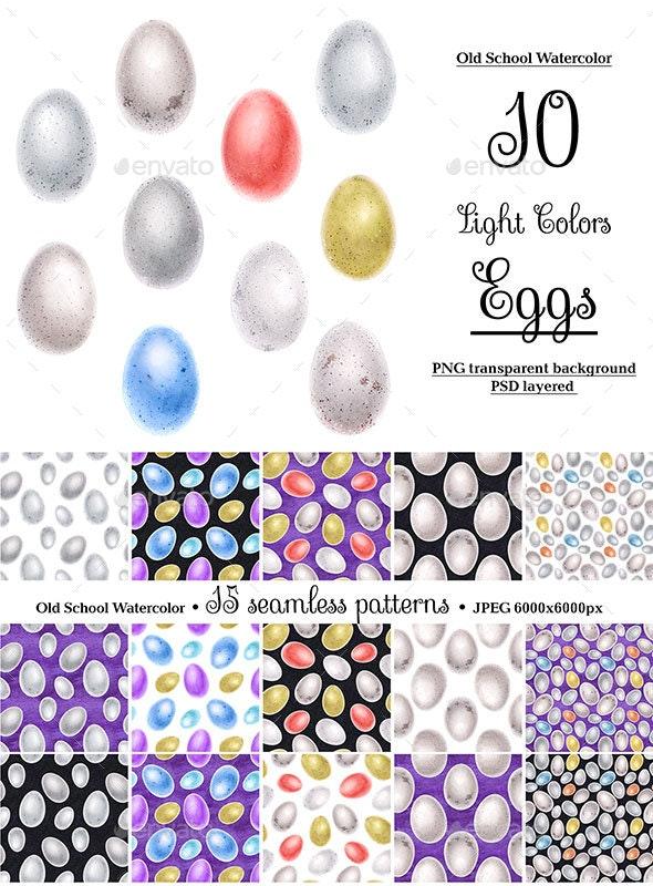 Bird Watercolor Eggs - Nature Backgrounds