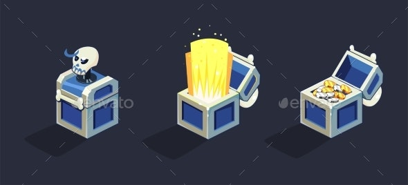 Treasure Chest, Open and Closed Blue Boxes - Objects Vectors