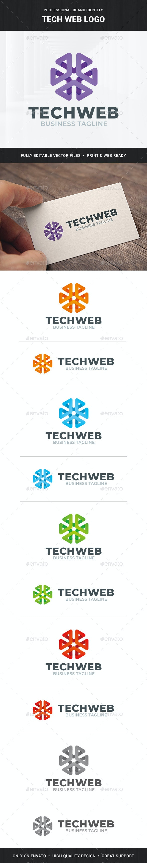 Tech Web Logo Template - 3d Abstract