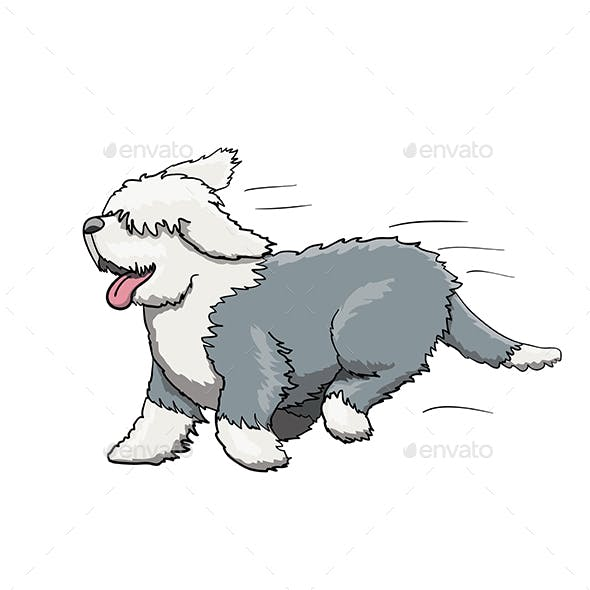 Bobtail Furry English Dog Cartoon Character Running