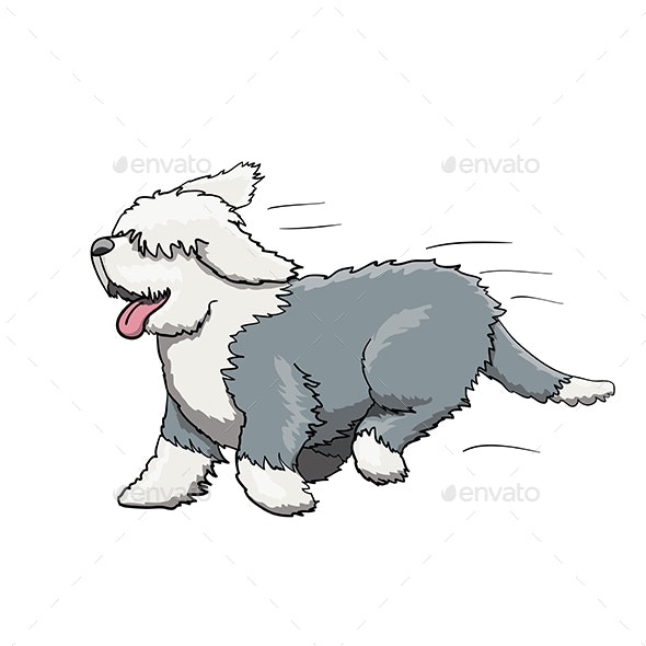Bobtail Furry English Dog Cartoon Character Running - Animals Characters
