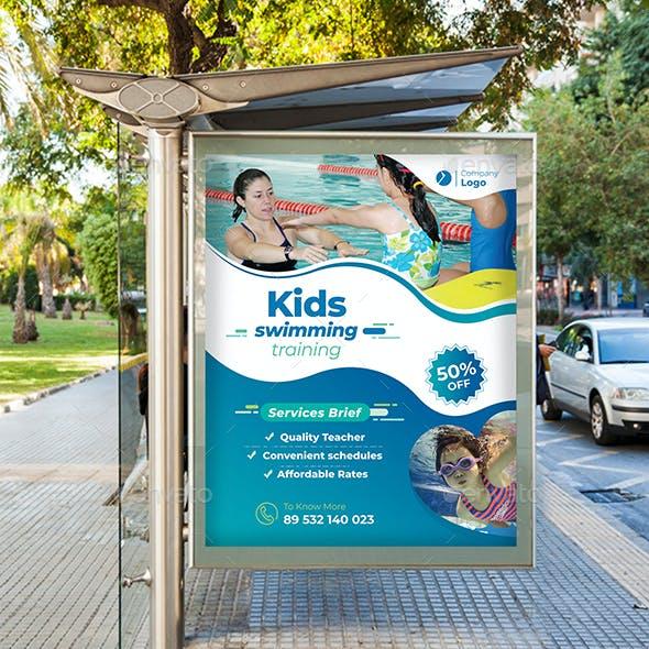 Kids Swimming Training Poster