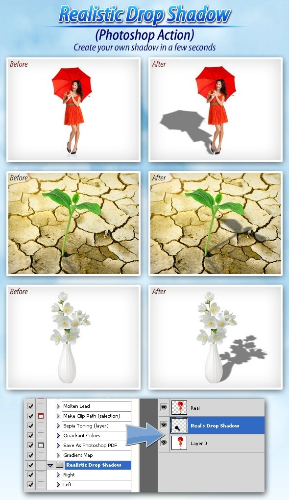 Realistic Drop Shadow (Photoshop Action) - Photo Effects Actions