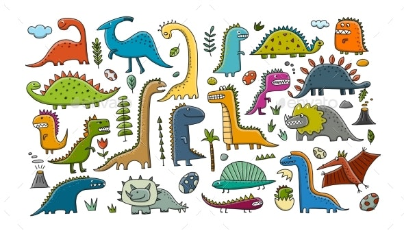 Funny Dinosaurs Collection, Childish Style. Sketch - Animals Characters