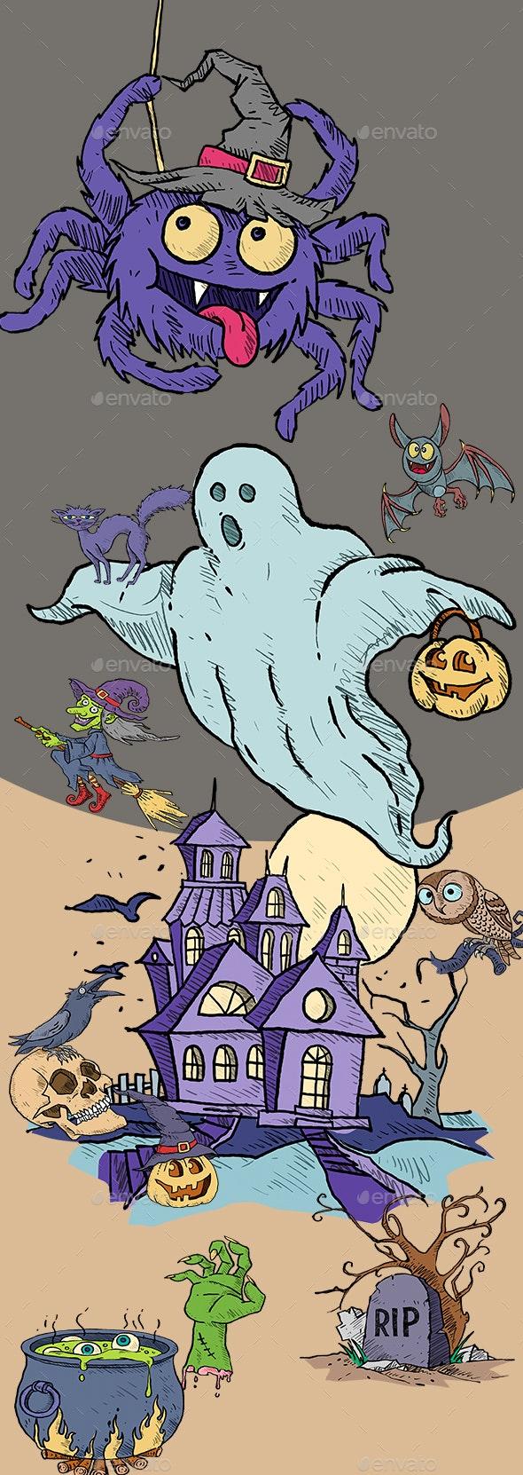 Halloween Elements - Characters Illustrations