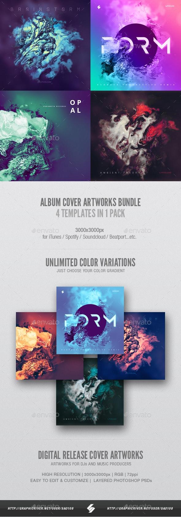 Abstract Album Cover Artwork Templates Bundle - Miscellaneous Social Media