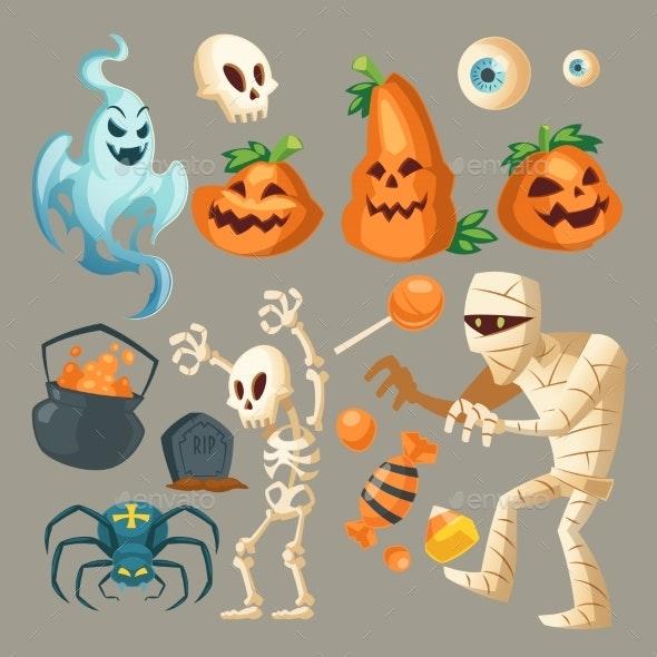 Vector Halloween Objects October Holiday Cartoon - Halloween Seasons/Holidays