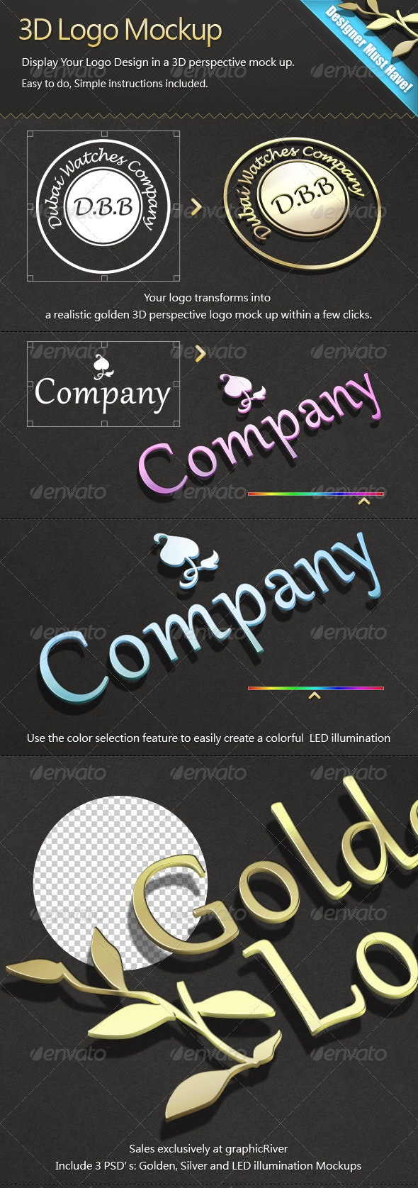 3D Logo Mock-ups Pack - Logo Product Mock-Ups