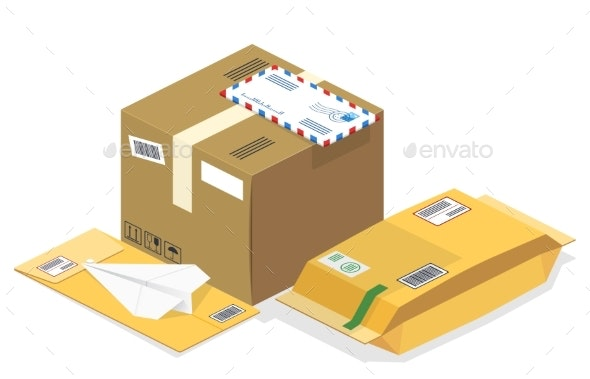 Vector Isometric Postal Parcels - Man-made Objects Objects