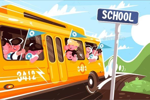 Yellow School Bus - People Characters