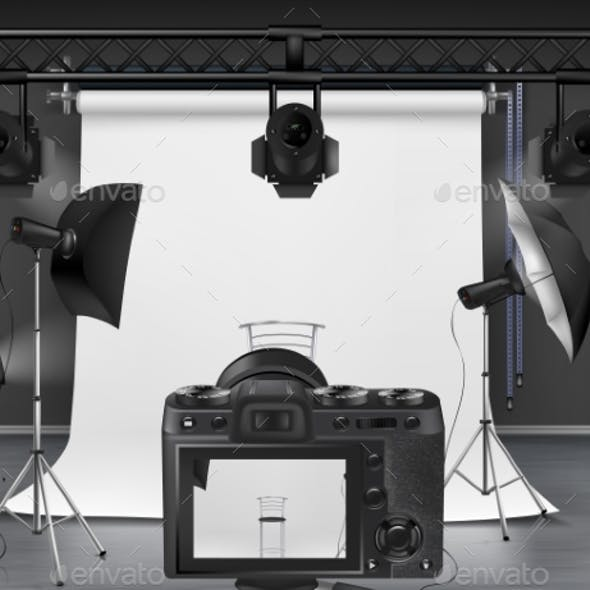 Vector Photo Studio with Equipment for Photography