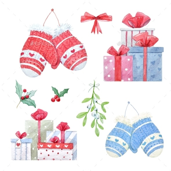 Watercolor Christmas Winter Set - Miscellaneous Illustrations