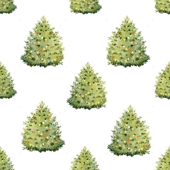 Watercolor Fir Tree Christmas Pattern - Miscellaneous Illustrations