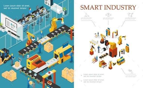 Isometric Modern Industrial Production Composition - Industries Business