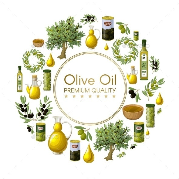 Cartoon Natural Olive Oil Round Concept - Food Objects