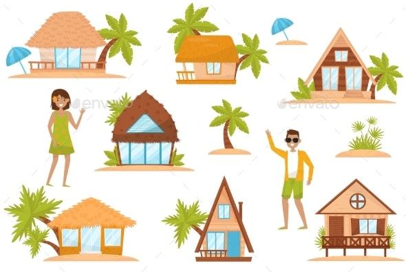 Summer Beach Houses Set, People Enjoying Tropical - Seasons/Holidays Conceptual