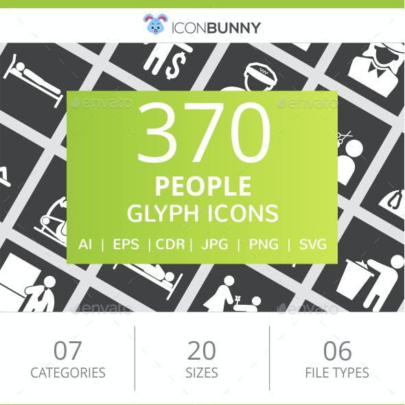 370 People Glyph Inverted Icons