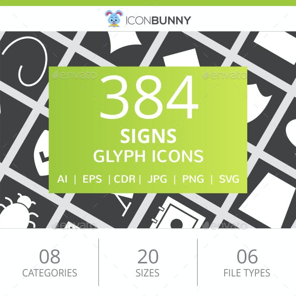 384 Sign Glyph Inverted Icons