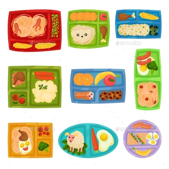 Flat Vector Set of Colorful Lunch Boxes with Food - Food Objects
