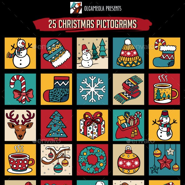 Merry Christmas and New Year Icons Bundle Set