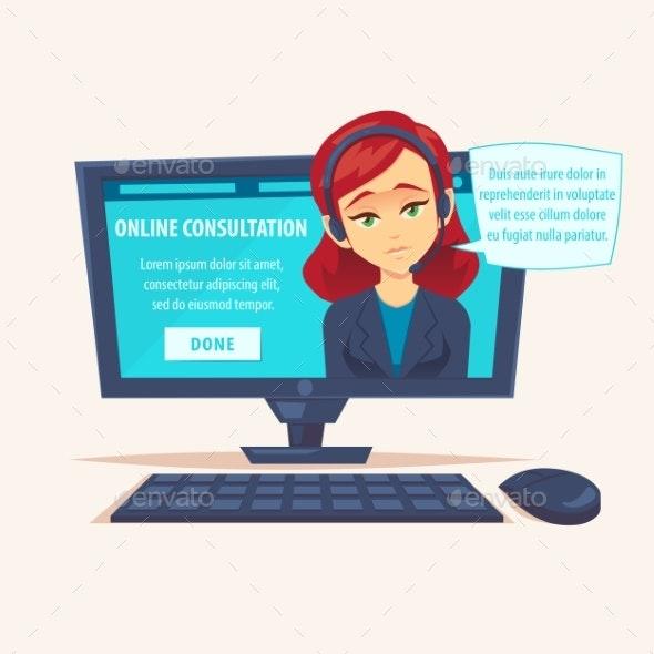Portrait of Happy Smiling Female Woman Customer - Communications Technology