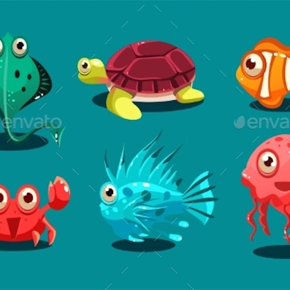 Sea Creatures Set, Animals and Fishes