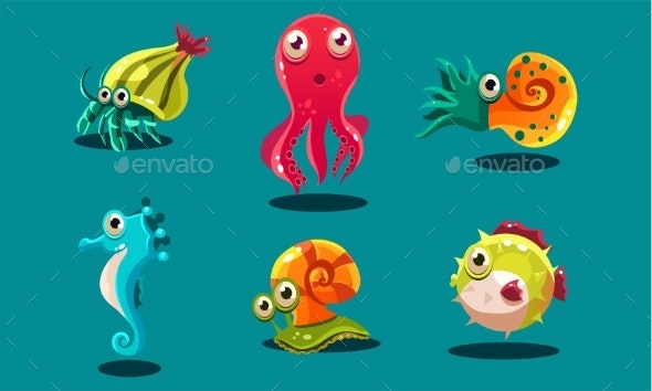 Sea Creatures Set, Animals and Fishes - Animals Characters