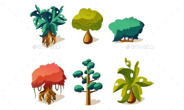 Fantasy Trees and Plants Set, User Interface - Flowers & Plants Nature
