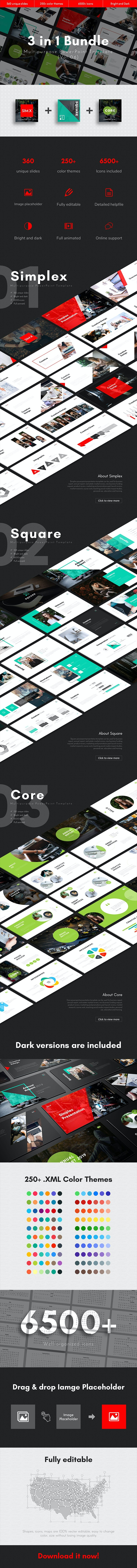 3 in 1 Multipurpose PowerPoint Template Bundle (Vol.06) - Business PowerPoint Templates