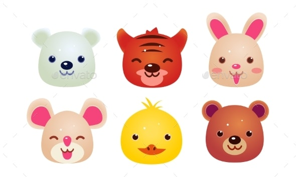Heads of Animals Set, Bear, Face of Bear - Animals Characters