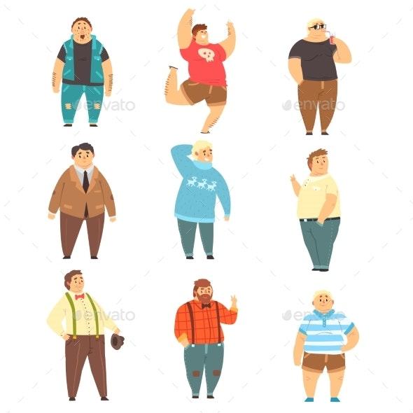 Handsome Overweight Men Set - People Characters