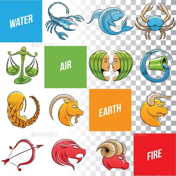Colorful Zodiac Sign Sketches - Miscellaneous Vectors