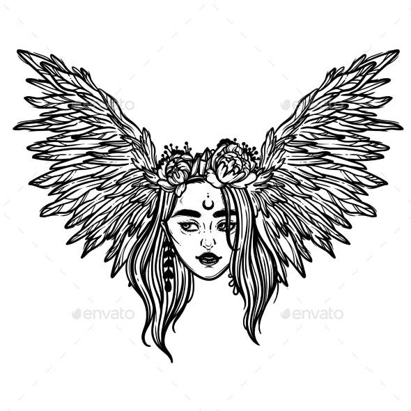 The Head of a Girl with Wings - People Characters