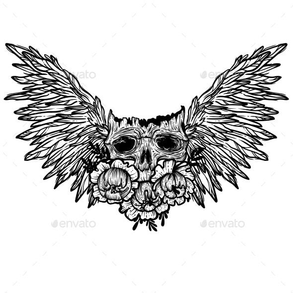 Vector Illustration with a Human Skull - Tattoos Vectors