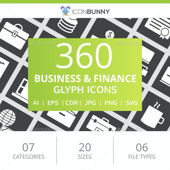 360 Business & Finance Glyph Inverted Icons