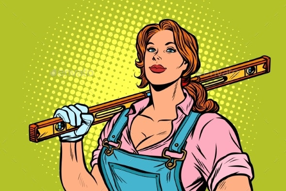 Female Construction Worker with Level - People Characters