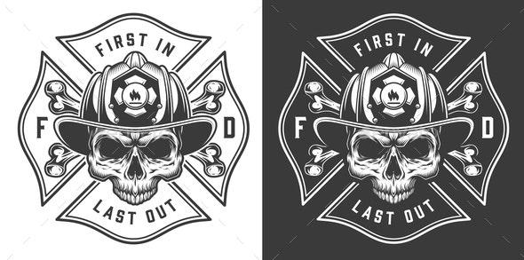 Monochrome Firefighting Emblems - Miscellaneous Vectors