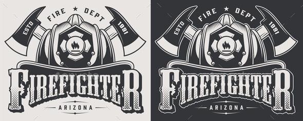 Vintage Firefighting Emblems - Miscellaneous Vectors