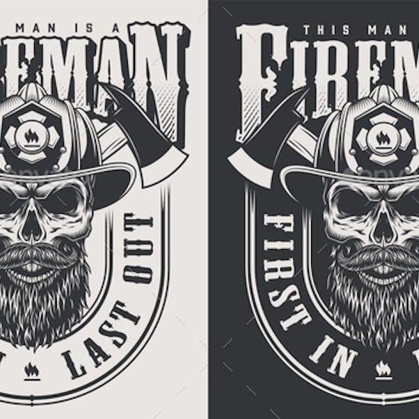 Vintage Firefighter Emblems